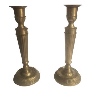 Mid-Century Brass Candleholders - a Pair For Sale