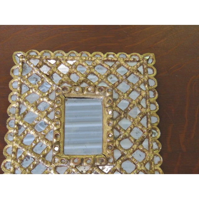 Hollywood Regency Antique Accent Mirror For Sale - Image 3 of 10