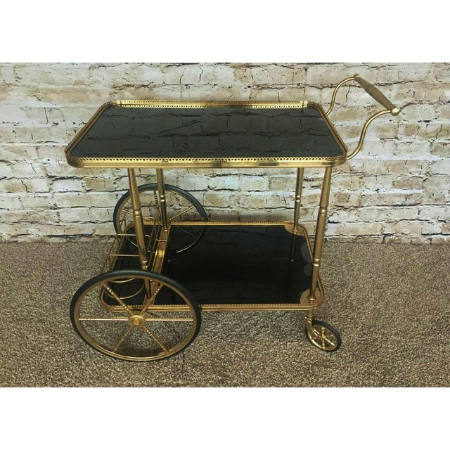 Hollywood Regency Maison Bagues Brass & Black Glass Tea Trolley For Sale - Image 9 of 9