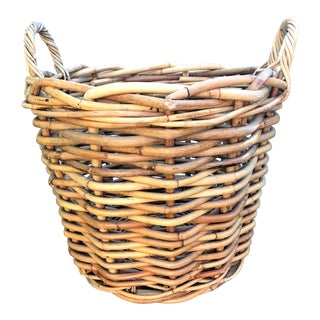 1960s Boho Chic Hand Woven Rattan Basket For Sale