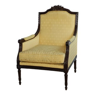 Early 20th Century Waldorf Astoria Ornately Carved Mahogany Bergere For Sale