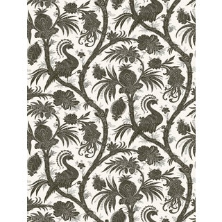 Red by Scalamandre Peel & Stick Wallpaper, Balinese Peacock, Charcoal For Sale