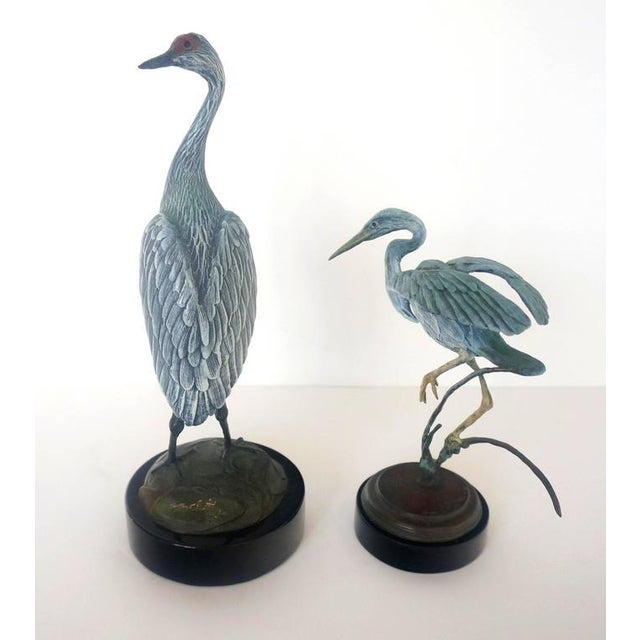 Set of Two Patinated Bronzes by Geoffry C. Smith of a Sandhill Crane & Heron - Image 8 of 10
