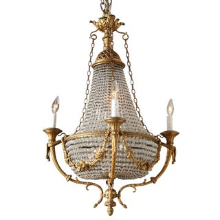 Fine Bronze and Crystal Period Empire Chandelier For Sale