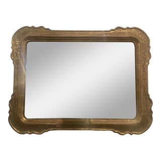 Mid 19th Century Antique Scalloped Gold Mirror For Sale