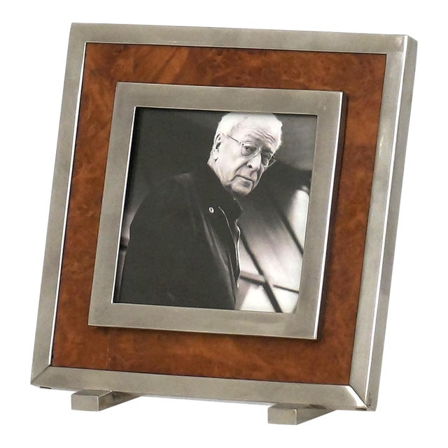 1970s Itlain Burl Wood & Silver Nickel Picture Frame For Sale