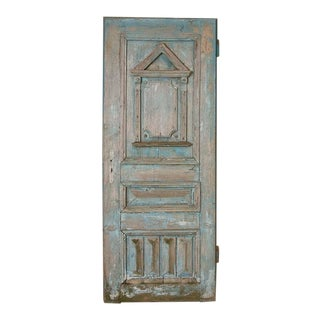 Antique Original Blue Painted Door With Architectural Panel Accents For Sale