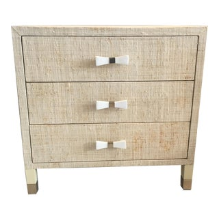 Natural Grasscloth Nightstand For Sale