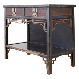 Chinese Export Two-Drawer Lacquered Console Table For Sale