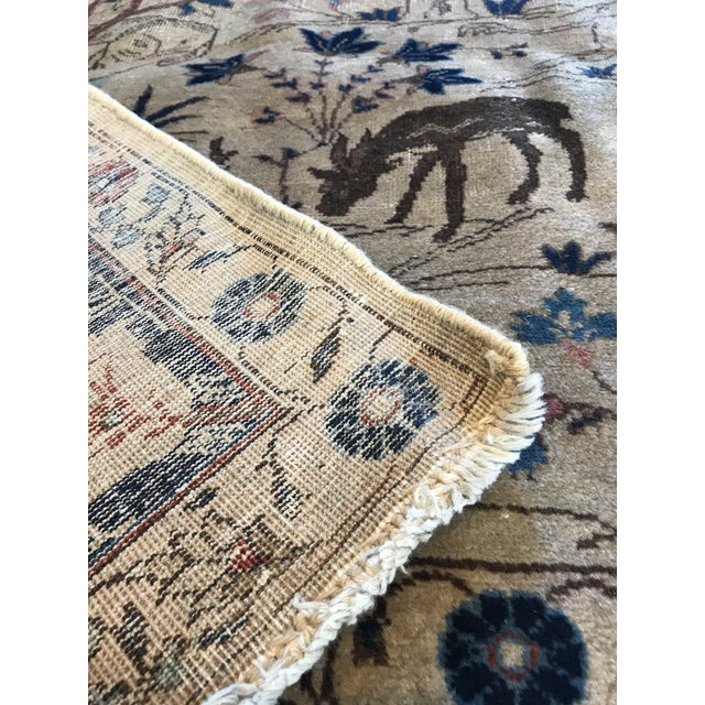 Textile Antique Tabriz Pictorial Wool Rug - 9′4″ × 12′4″ For Sale - Image 7 of 11
