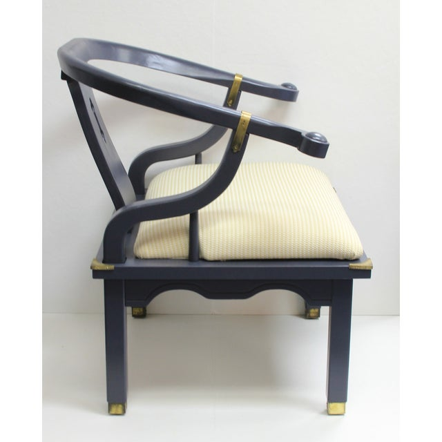Navy Mao Chair With Brass Trim - Image 3 of 5