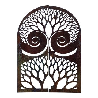 Mid 20th Century Arched Gates or Shutters Having a Cutout, Stylized Leaf Pattern and Exaggerated Scrolls - a Pair For Sale