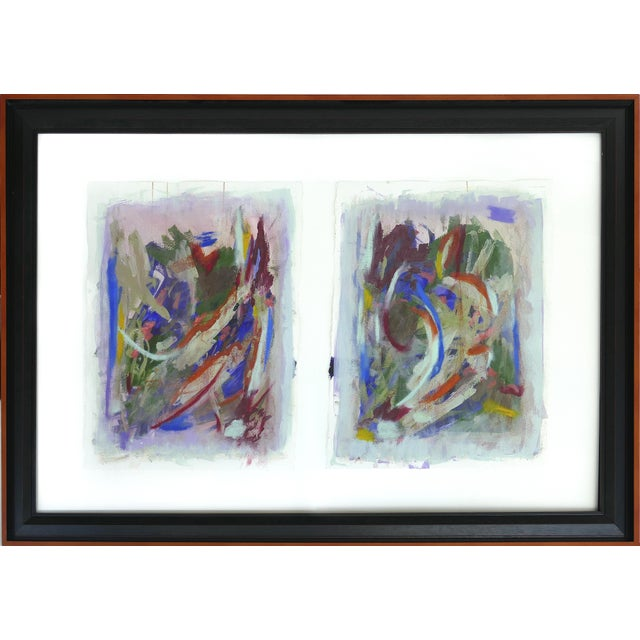 Large Framed Abstract Diptych Signed Acrylic Painting on Paper Dated 2014 For Sale - Image 13 of 13