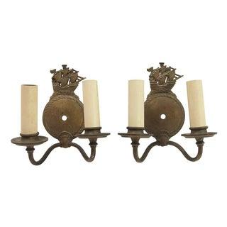Antique Nautical Bronze Double Arm Wall Sconces - a Pair For Sale