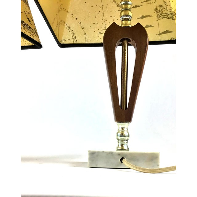 1960s Vintage Teak Marble Brass Italian Lamps - a Pair For Sale In Boston - Image 6 of 12