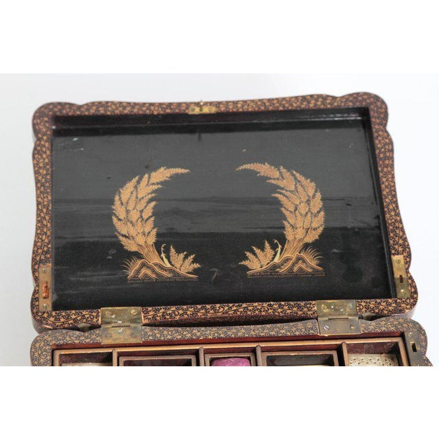 Gold 19th Century Chinese Export Chinoiserie Lacquer Sewing Box For Sale - Image 8 of 13