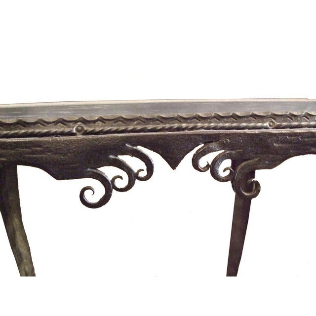 Early 20th Century Vintage Iron Side Table With Slate Top For Sale - Image 5 of 7