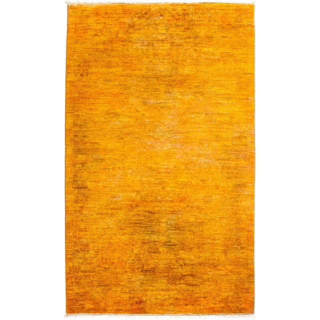 "New Hand-Knotted Overdyed Yellow Rug - 3'1"" X 5'3"" - Image 1 of 3"