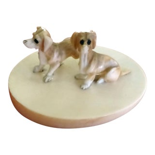 1930s Carved Bone Tiny Dogs Figurines - a Pair For Sale