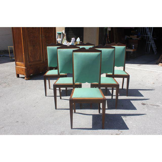1940s French Art Deco Solid Mahogany by Jules Leleu Dining Chairs - Set of 6 - Image 5 of 12