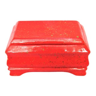 Vintage Mid-Century Red Splatterware Ceramic Box