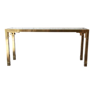Mastercraft Brass & Glass Greek Key Console Table For Sale