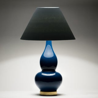 Casa Cosima Double Gourd Table Lamp, Prussian Blue/Black Shade - a Pair Preview
