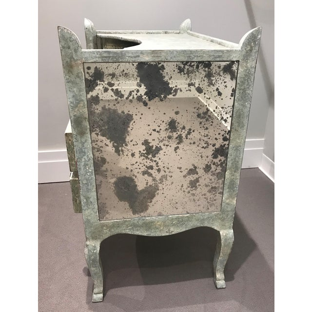 French Country Antiqued Mirrored Chest Of Drawers For Sale - Image 3 of 13