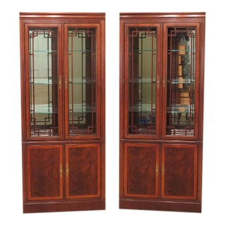 Drexel Heritage Cherry Lighted Display Cabinets - a Pair