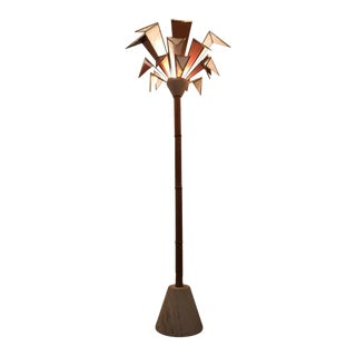 Modernistic Italian Framed Glass and Travertine Marble Palm Tree Floor Lamp For Sale