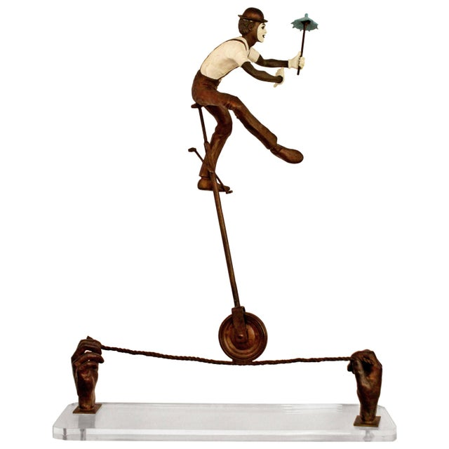 Contemporary Jerry Soble Balancing Man Bronze Mime Sculpture, Signed, 1991 For Sale - Image 11 of 11