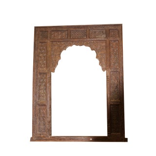 Antique Indian Haveli Wooden Arch Veranda Wall Huge Floor Mirror For Sale