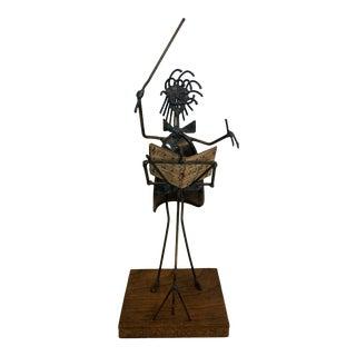 "Vintage ""Maestro, Please!"" Brutalist Formed Wire & Sheet Metal Sculpture For Sale"