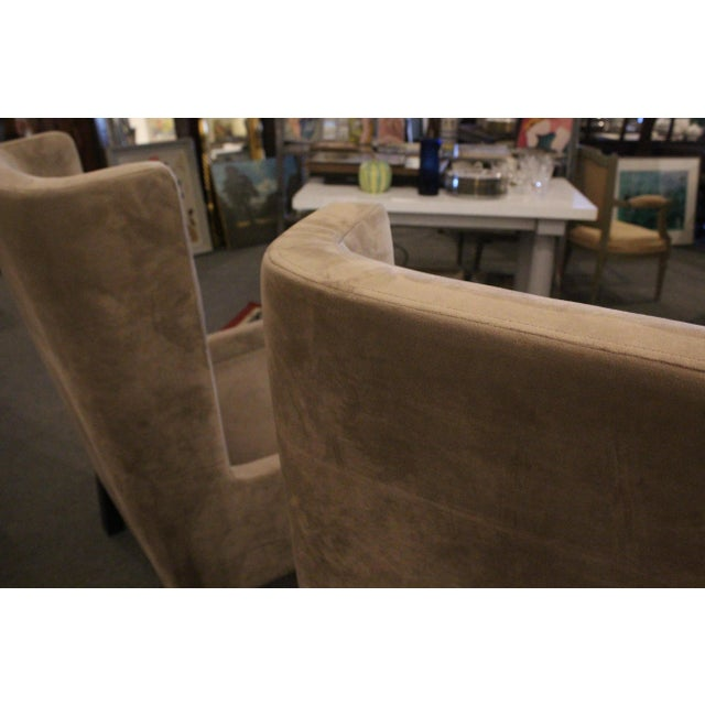 Vintage Mid Century Plush Contemporary Wing Chairs- A Pair For Sale In New York - Image 6 of 9
