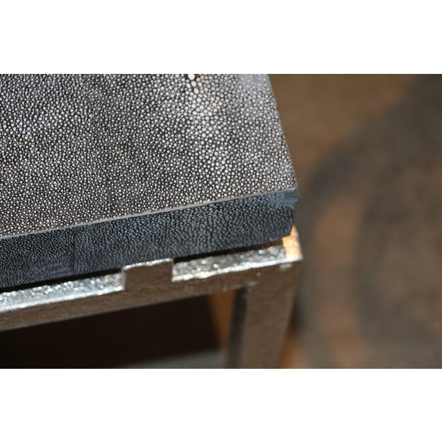 Faux Shagreen and Metal Coffee Table For Sale In Palm Springs - Image 6 of 10