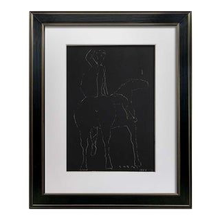 """Marino Marini Lithograph Signed Ltd Edition """"Black Scratchboard"""" W/Frame For Sale"""