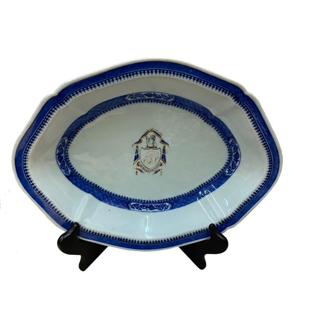Ceramic Chinese Export Armorial Platter For Sale - Image 7 of 7