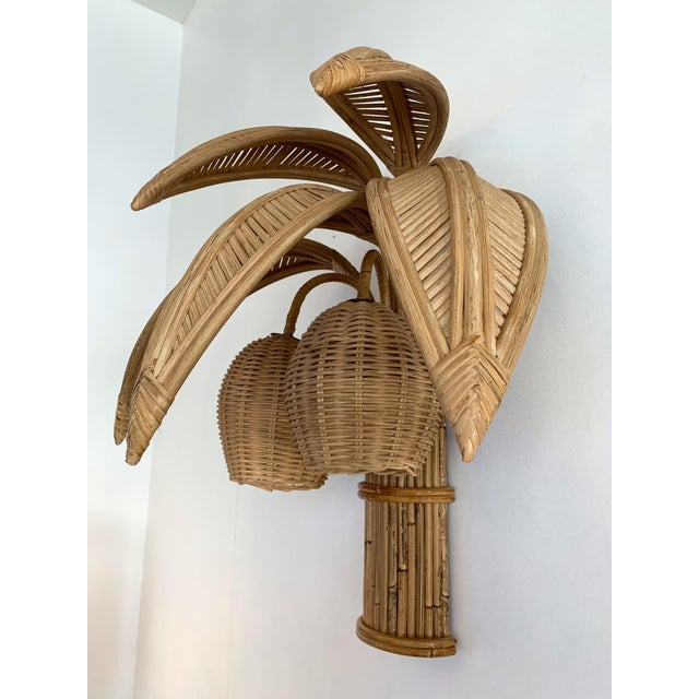 1980s Rattan Palm Tree Sconces, France - a Pair For Sale - Image 6 of 13