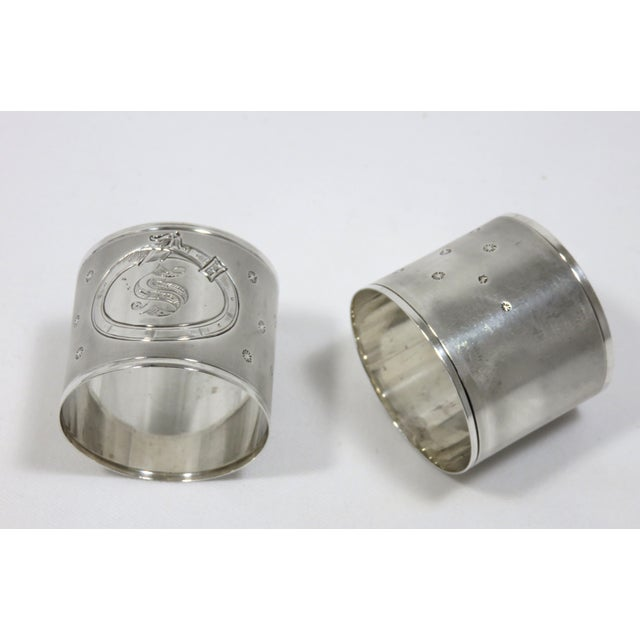Large Antique Sterling Silver Napkin Rings - A Pair For Sale In Boston - Image 6 of 6
