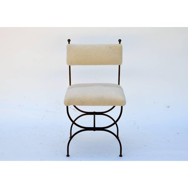 Exceptional Wrought Iron and Sheepskin Side Chair by Gilbert Poillerat For Sale - Image 10 of 10