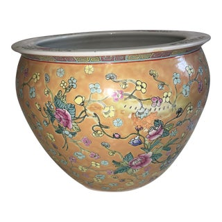 Painted Chinese Floral Jardiniere For Sale
