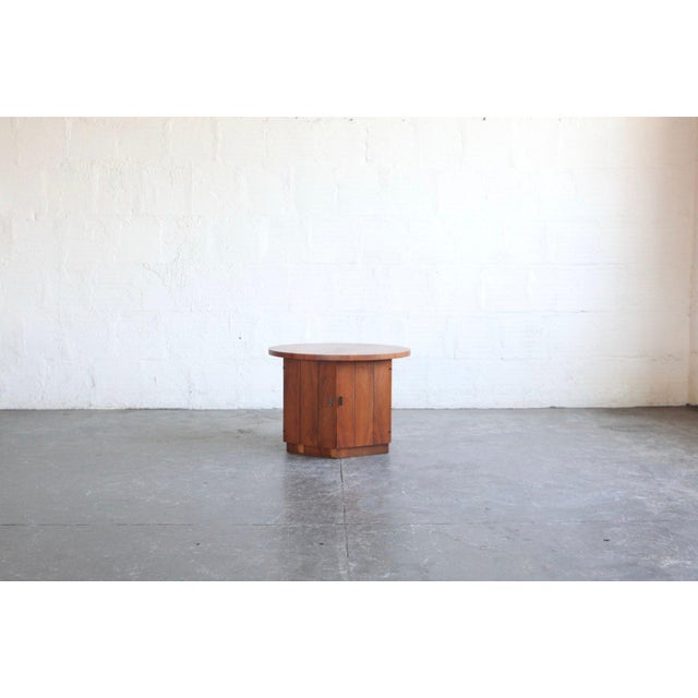 1960s 1960s Modern Teak Hexagon Side Table/Cabinet For Sale - Image 5 of 6