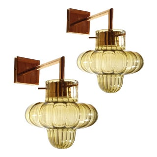 Mid-Century Modern Mazzega Style Green Murano Glass Gold Plated Sconces - a Pair For Sale