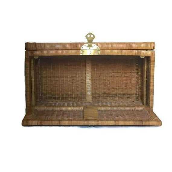 "Mid Century Modern Rattan Trunk Blanket Chest Brass Hardware 36"" For Sale - Image 10 of 10"