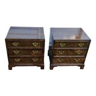 Vintage Henredon Chippendale Mahogany Nightstands - a Pair For Sale
