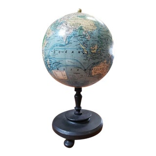 Vintage 10″ Terrestrial World Globe by Girard, Barrere & Thomas, Paris For Sale