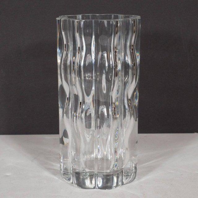 Orrefors Swedish Mid-Century Modern Translucent Handblown Rippled Glass Vase by Orrefors For Sale - Image 4 of 10