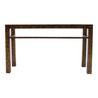 Faux Tortoise Finish Console Table For Sale