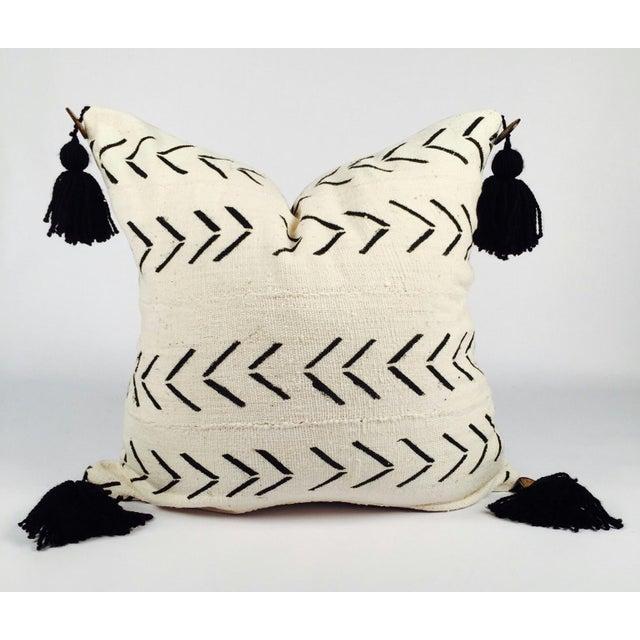 "22"" Pompom Black & White Mud Cloth Pillow - Image 2 of 5"