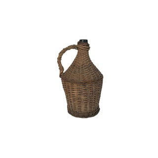 Antique Large Wicker Wrapped Brown Glass Bottle Demijohn For Sale